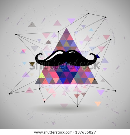hipster Mustaches Space triangle mystic galaxy astral triangle - stock vector