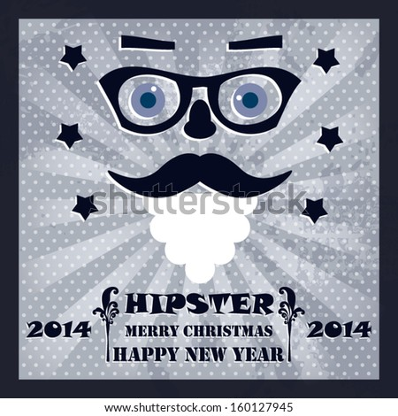 Hipster new year merry christmas card vintage