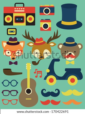 hipster objects collection. vector illustration - stock vector