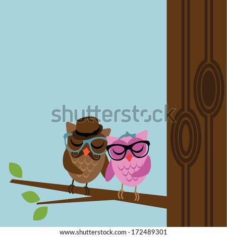 Hipster Owl Background. EPS 10 vector, grouped for easy editing. No open shapes or paths. - stock vector