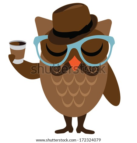 Hipster owl. EPS 10 vector, grouped for easy editing. No open shapes or paths. - stock vector