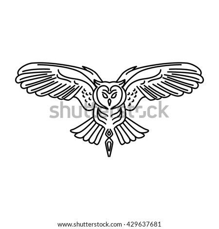 Hipster Owl Logo Template. Flying owl logo. Vector line icon