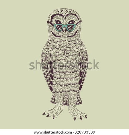 Hipster owl vector illustration. Graphic detailed brown bird. - stock vector