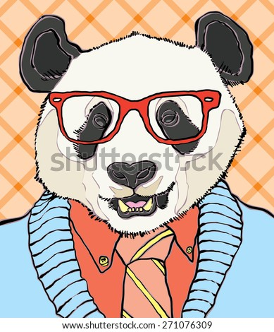 hipster panda vector illustration - stock vector