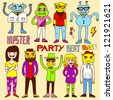 Hipster party doodle set. Vector illustration. - stock vector