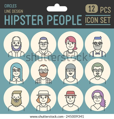 Hipster people line design circle icon set. Trendy vector illustrations. - stock vector