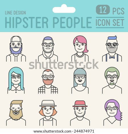 Hipster people line design color icon set. Trendy vector illustrations. - stock vector
