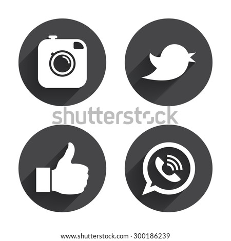 Hipster photo camera icon. Like and Call speech bubble sign. Bird symbol. Social media icons. Circles buttons with long flat shadow. Vector - stock vector