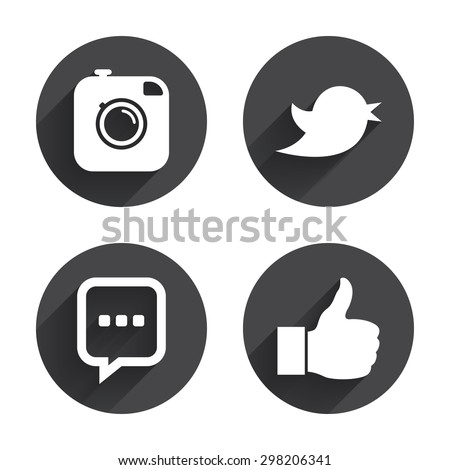 Hipster photo camera icon. Like and Chat speech bubble sign. Hand thumb up. Bird symbol. Circles buttons with long flat shadow. Vector - stock vector
