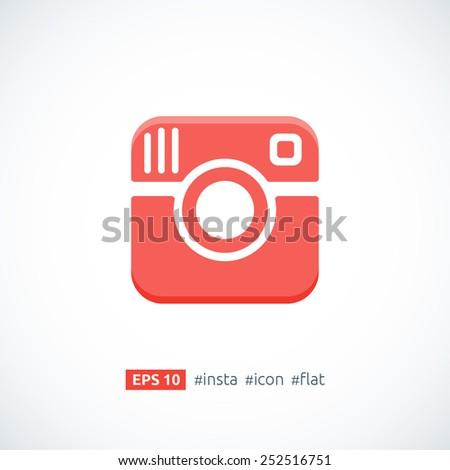 Hipster photo camera icon. Retro vector icon logo isolated. Vector illustration. - stock vector