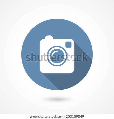 Hipster photo or camera icon with long shadow - stock vector