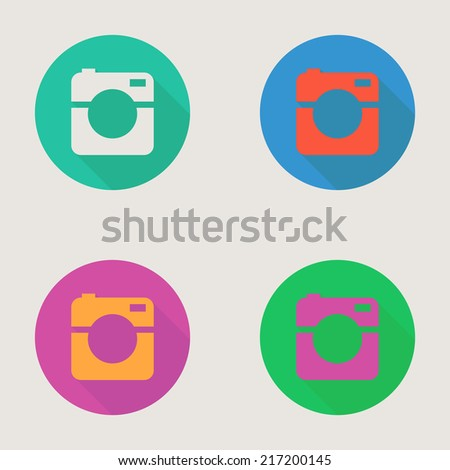 Hipster photo or video camera icon, minimalism style, flat design - stock vector