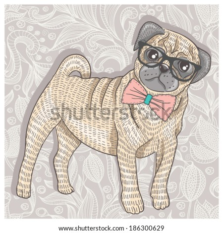 Hipster pug with glasses and bowtie. Cute puppy illustration for children and kids. Dog background. - stock vector