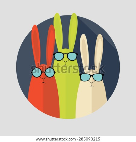 Hipster rabbit with glasses. Vector postcard - stock vector