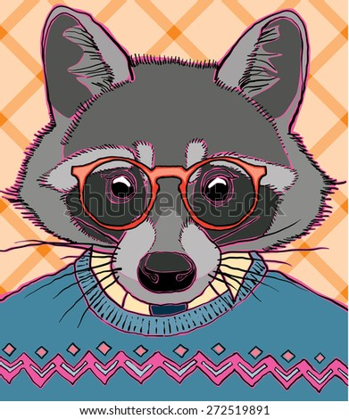hipster racoon vector illustration - stock vector