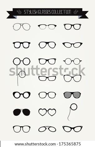 Hipster Retro Vintage Glasses Icon Set, Illustration, Black - stock vector