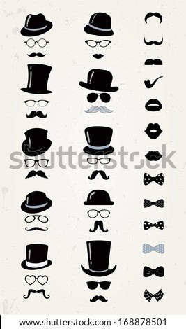 Hipster Retro Vintage Vector Icon Set, Mustache, Lips, Hats, Bow ties and Glasses Collection - stock vector