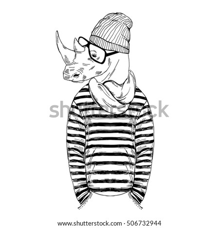 Hipster Rhino Dressed Frock Knitted Scarf Stock Vector ...