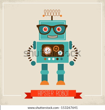 Hipster robot toy icon and illustration - stock vector
