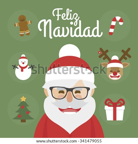 Hipster Santa Claus character illustration and christmas icons set. merry christmas written in Spanish - stock vector