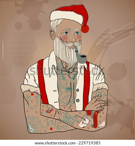 Hipster Santa Claus man with old school tattoo, Christmas and New Year illustration, Vector - stock vector