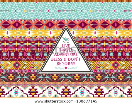 Hipster seamless aztec pattern with geometric elements and quotes typographic text  Label retro design on hipster style with typography quotes - stock vector