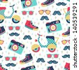 hipster seamless pattern - stock photo