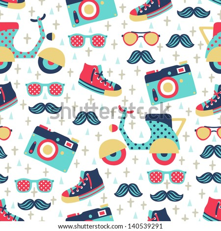 hipster seamless pattern - stock vector