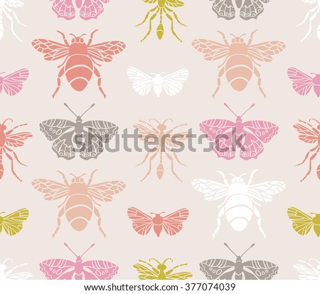 Hipster seamless pattern with Insects . Abstract triangular style. Vector background. - stock vector