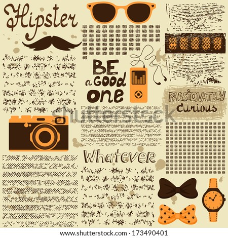 Hipster seamless vintage newspaper with unreadable text vector illustration - stock vector