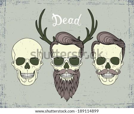 hipster skull - stock vector