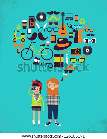 Hipster speech bubble with icons and stylish young couple - stock vector