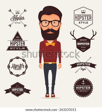 Hipster Style Character with Trendy Typographic Design Elements - Illustration of a typical bearded Hipster with full outfit wearing a red shirt, orange bow and dark trousers on a light background - stock vector