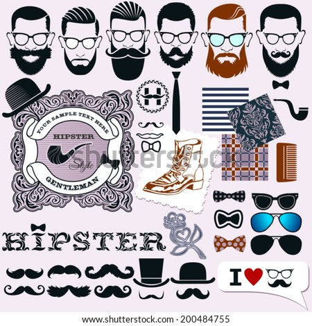 Hipster style design, artistic isolated elements: hipsters faces, hairstyles and beards templates and symbolic fashion accessories, tattoos with samples patterns, layouts for creative design - stock vector