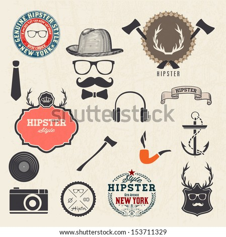 Hipster style design elements and icons set. Sunglasses, mustache, bow, anchor, hat, camera. Vector illustration. Organized in layers. - stock vector