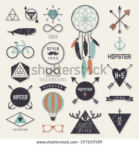 Hipster style elements and labels - stock vector