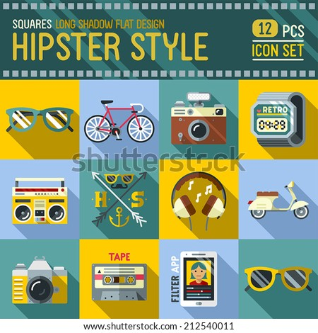 Hipster style flat long shadow design square icon set. Trendy illustrations. - stock vector