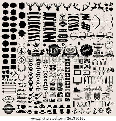 Hipster style infographics elements and icons set for retro design. Illustration eps10 - stock vector
