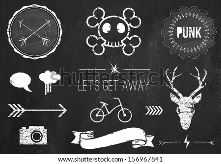 Hipster style infographics elements and icons set for retro design. With bicycle, ribbon, skill, arrow, deer head and camera. Vector illustration. Chalkboard background. Black vector version - stock vector