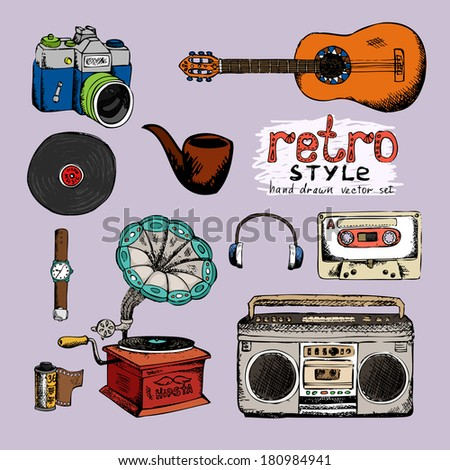 hipster style music and photo vector hand drawn objects - stock vector