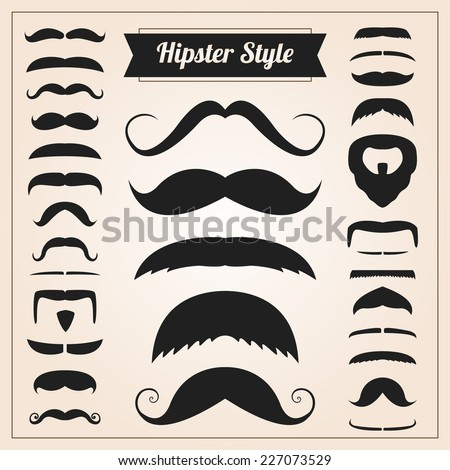 Hipster style mustache vector set collection - stock vector