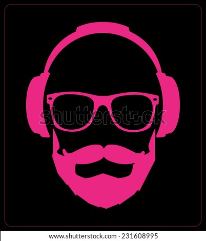 Hipster style set, glasses, mustaches, headphones abstract illustration background. vector flat template  - stock vector