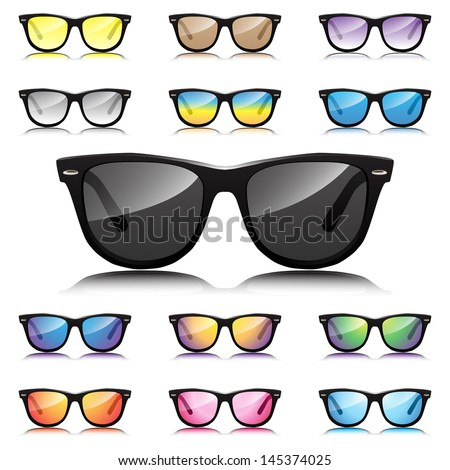 Hipster sunglasses set - stock vector