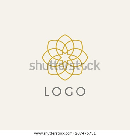 Hipster template logo. Modern lineart logo design elements - stock vector