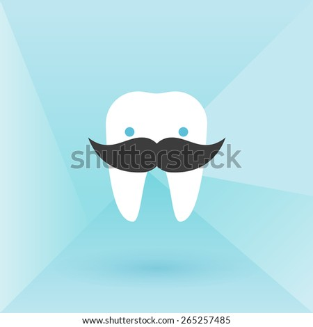 Hipster tooth with mustache. Low poly background - stock vector