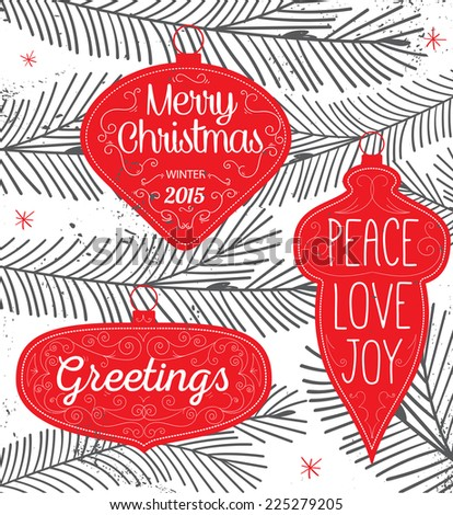 Hipster Typography Christmas background - labels, emblems and decorative elements - stock vector