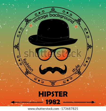 Hipster vector background. Retro vintage label design. Hipster theme label, card. Mustache, Glasses and  Bowler Hat. Baroque ornaments and floral details. Colorful. - stock vector