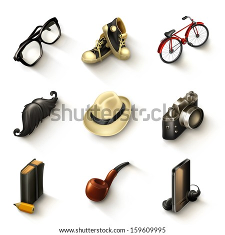 Hipster vector icon set - stock vector