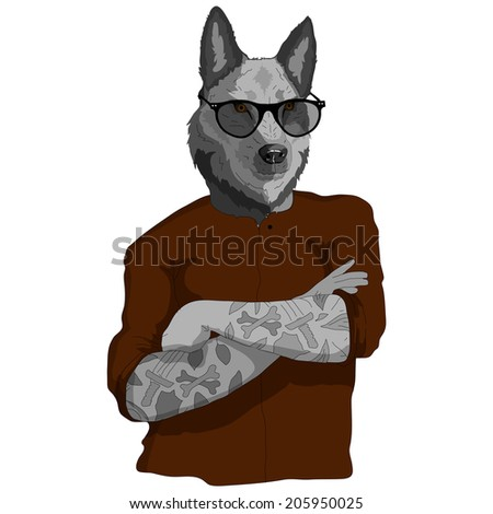 Hipster vector illustration of dressed up dog - stock vector