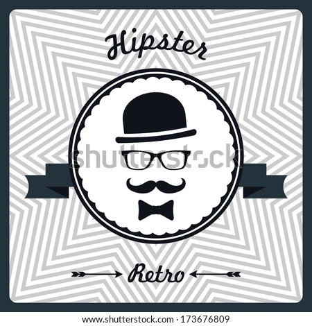 Hipster vintage background with man face silhouette - stock vector